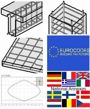 Concrete beams, concrete columns, concrete slabs, Eurocodes, National Annexes