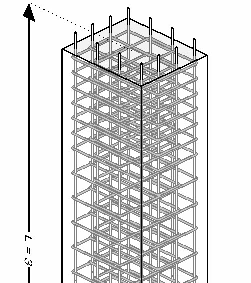 3d model, concrete column and calculated reinforcement rebars